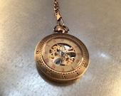Skeleton Style Pocket Watch on a Pocket Watch Chain, Pocket Watch, Mechanical Movement, Railroad Watch,