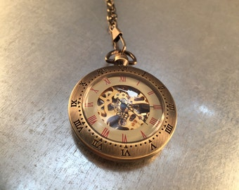Skeleton Style Pocket Watch on a Pocket Watch Chain, Pocket Watch, Mechanical Movement, Railroad Watch,