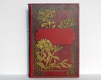 Wedding Guest Book, Photo Scrapbook Keepsake, Anniversary Gift Idea, Bereavement Journal, Rebound Antique Blank Book, Red Oversized
