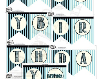 New York Birthday Party Banner