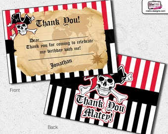 Pirate Thank You Cards, Pirate Party Thank You Cards, Pirate Party Thank You Card, Pirate Thank You Card