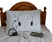 Headphones pillowcase screen printed  'made to order'