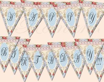 "Printable Birthday Party Banner ""Happy Birthday"" digital vintage Shabby Chic digital printable banner girls birthday Party Baby"