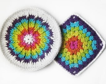 SALE - 20% OFF -- Bright Rainbow Hot Pads, Set of 2, Cotton - Multicolor Bright Neon White - Potholder Hotpad Colorful Kitsch Hostess Gift