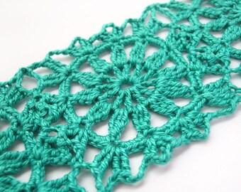 Aquamarine Lace Bracelet - Crochet Flower Cuff -Teal Jade Egyptian Cotton - Granny Square Beach Hippie Boho Summer Fashion