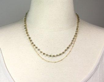 Petwa. Gemstone Rosary Necklace.  Layering Necklace. Labradorite Necklace, Choice of Gemstones. EX.