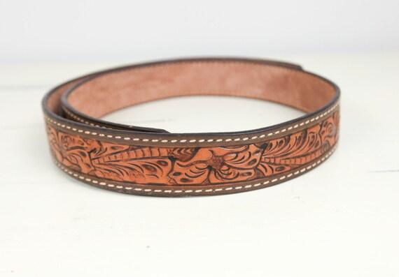vintage tooled leather western ranger belt tooled leaf