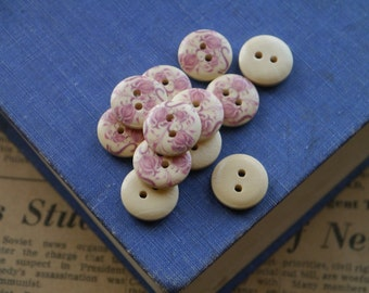 20 Wooden Mauve Pink Rose Floral Flower Buttons 15mm  (WB2159)