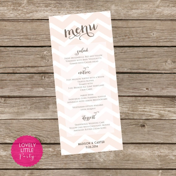 Printable Madison Collection Chevron Menu for weddings, showers and parties - Lovely Little Party - You Choose Color
