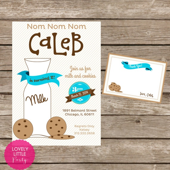 DIY Printable Cookies & Milk Birthday Invitation Kit - Invite AND Thank You Card included