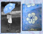Umbrella -Parasol -Painted -Blue and white