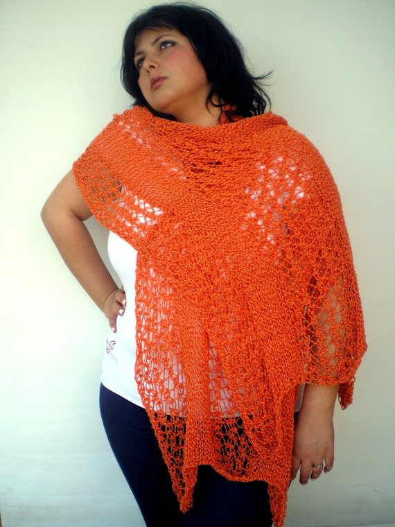 Orange Desert Lace Wrap Hand Knitted Stole Woman Trendy Shoulder Wrap NEW
