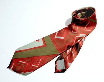Vintage Tie, Square Lines Geometric Shapes Tie, Pattern Tie, 80s Vintage for Men, Retro Tie, Tie for Men, Men's Tie, Men's Accessories