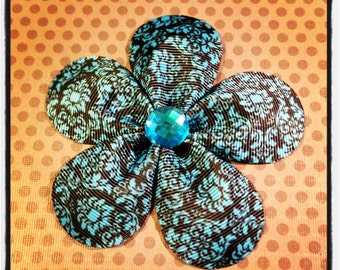 Blue Damask Print...Girls Hairbows...Baby/Infant Hairbows...Toddler Hairclips...Hairclips