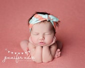 Top-Knot Headbands, Set of 3 Mint and Coral Headbands, Chevron Headband, Arrow Headband, and Plus Headband by JuteBaby