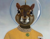 Package of three greeting cards and envelopes: Space Hat Squirrel. Pop Surrealism Animal Art