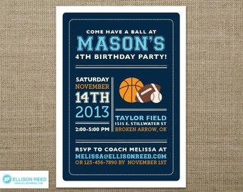 Sports Birthday Invitation - Football Invitation - Basketball Invitation - Baseball Invitation - First Birthday Invitation - Boy Birthday