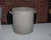 Antique Very Large Gray Graniteware Stock Pot