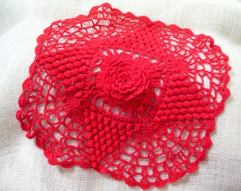 """Vintage Red Crochet Doily Table Topper Floral Center 10.5"""" TREASURY ITEM"""