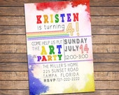Art Party Invitation: Printable Paint Birthday Invitation, colorful girls invite w/ rainbow colors, party printables, decorations available