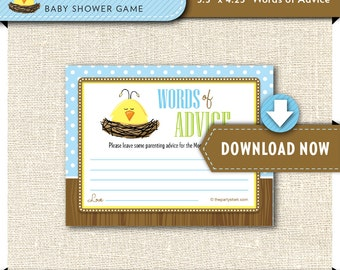 printable baby shower game duck baby advice cards printable about to hatch theme