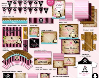 Pirate Birthday Party Decorations | Girls Printable Pink Pirate Party Package Kit | Invitation Available | Instant Download Now
