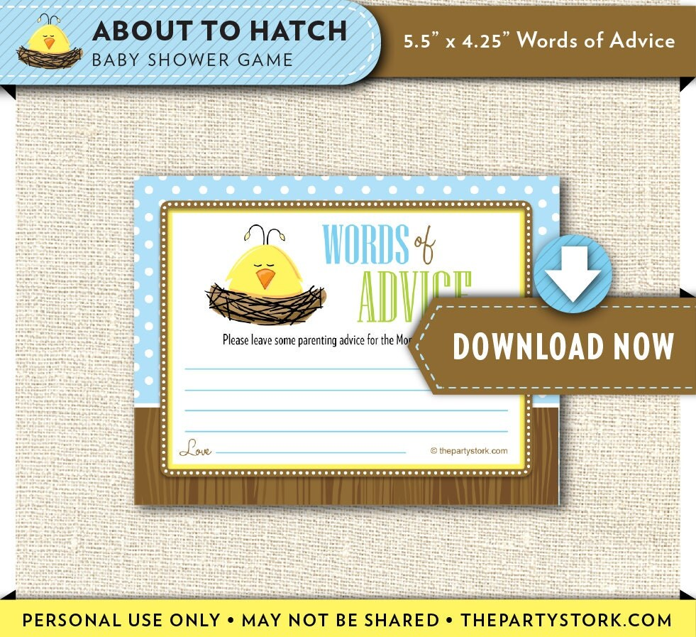 Downloadable Baby Shower Games: Printable Baby Shower Game DUCK Baby Advice Cards Printable