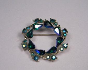 Aurora Borealis Rhinestone Wreath Brooch, Vintage Classic, Blue and Green
