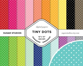Tiny Polka Dots 20 Piece Digital Scrapbook Paper Mega Pack - Personal and Commercial Use - INSTANT DOWNLOAD