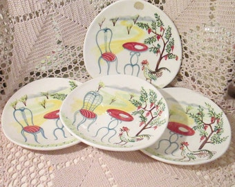 Vintage Alessio Italian Ceramic Handpainted Plates, Set of 4