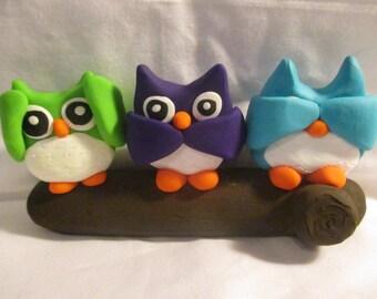 Polymer Clay - Hear No Evil, Speak No Evil, See No Evil Owls
