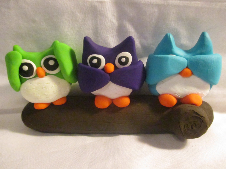 Polymer clay hear no evil speak no evil see no evil owls - Hear no evil owls ceramic ...