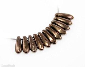 Dark Bronze Daggers 10mm (50) Czech Glass Beads Opaque Brown Metallic Teardrop Fang Spike