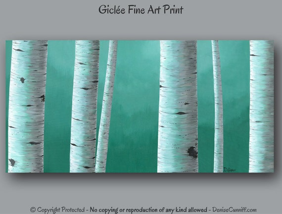 Birch Tree Painting Giclee Fine Art Print Teal Wall Art