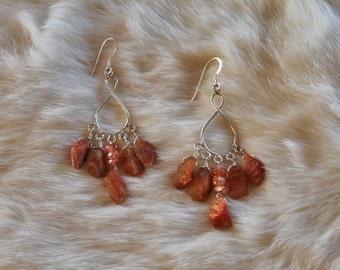 Sunstone Sterling Silver Earrings