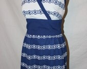 Vintage 60s Halter Dress - Blue and white Maxi Dress - Gay Gibson Dress - Small size 2 - Hippie Dress