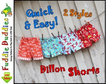 Dillon.. Quick and Easy Baby Boy's Shorts Pattern. Baby Shorts Pattern. Infant Shorts Pattern, Boy's Sewing Pattern. pdf Sewing Pattern.