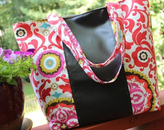 Orange Floral Print Tote with Dark Brown Faux Leather