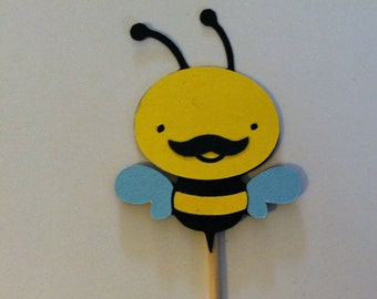 12 bumble bee with mustache cupcake toppers, bee food picks,  cupcake toppers