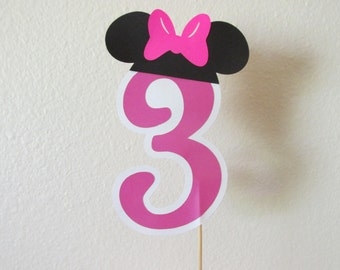5 1/2inch  number/age cake toppers/centerpiece with Minnie ears-Double sided cake topper- Minnie cake topper(Choose your number and color)