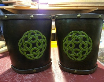 Leather Armor Hand Carved Celtic Knot Bracers Cuffs