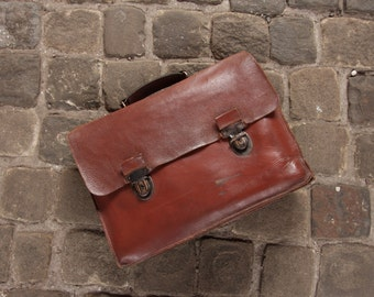 Leather Vintage French Briefcase, laptop bag, metro style, quality leather