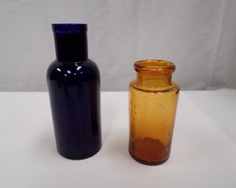 Lot of 2 French antique apothecary pharmacy Bottles Jar w599