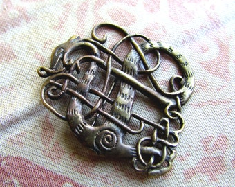 Medieval Urnes Style Dragon Brooch