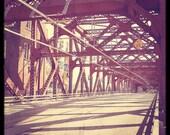 Portland Bridge Photo Broadway Bridge Red--Fine Art Photography 8x8