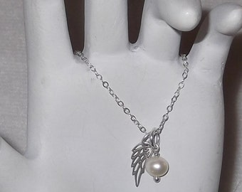 Remembrance/Memorial Necklace; Delicate, Sterling Silver, Angel Wing Charm Necklace with Pearl Accent - MTN147