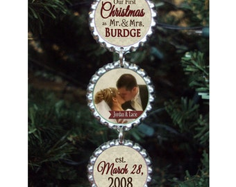 Wedding Christmas Ornament Bottlecap Our First Christmas as Mr. and Mrs. Personalized Custom Photo Ornament Wedding Gift for Newlyweds