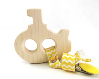 Submarine Wooden Baby Teether - Natural and Organic Grasping Wood Toy Navy Submarine