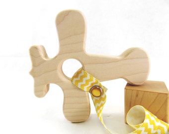 Wood Teether Airplane Toy Wood Airplane Baby Shower Gift Teething Ring Teething Toy Baby Teether Wooden Teether Wood Teething Ring