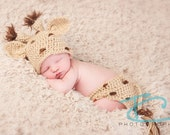 Crochet Giraffe Hat and Diaper Cover, Newborn SIze, Photography Prop